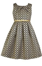 Little Girls Metallic Gold/Black Belted Aztec Brocade Dress, X3-TDLG-HOL15-3B... - $44.45