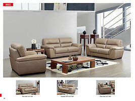 Chic Modern 8052 Italian Leather Sofa Living Room Set Contemporary