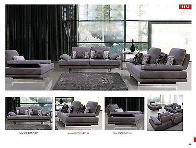 Chic Modern 1174 Fabric Sofa Living Room Set Contemporary Recliner Back