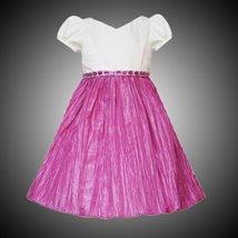 Rare Editions Toddler Girls 2T-4T IVORY FUCHSIA-PINK JEWEL WAIST SHANTUNG CRI...