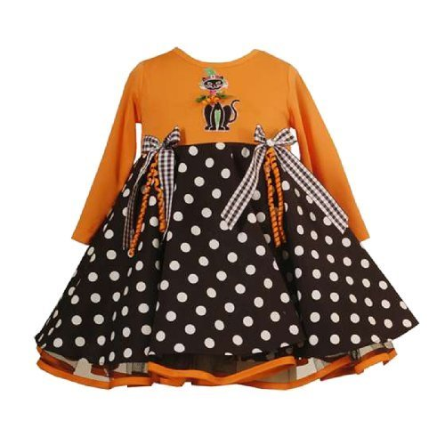 Dots and Ribbons Cat Applique Skater Dress, 24-Months, Orange [Apparel]