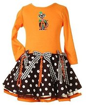 Rare Editions Toddler Girls 2T-4T ORANGE BLACK 'Black Cat' RIBBONS DOTS Hallo...
