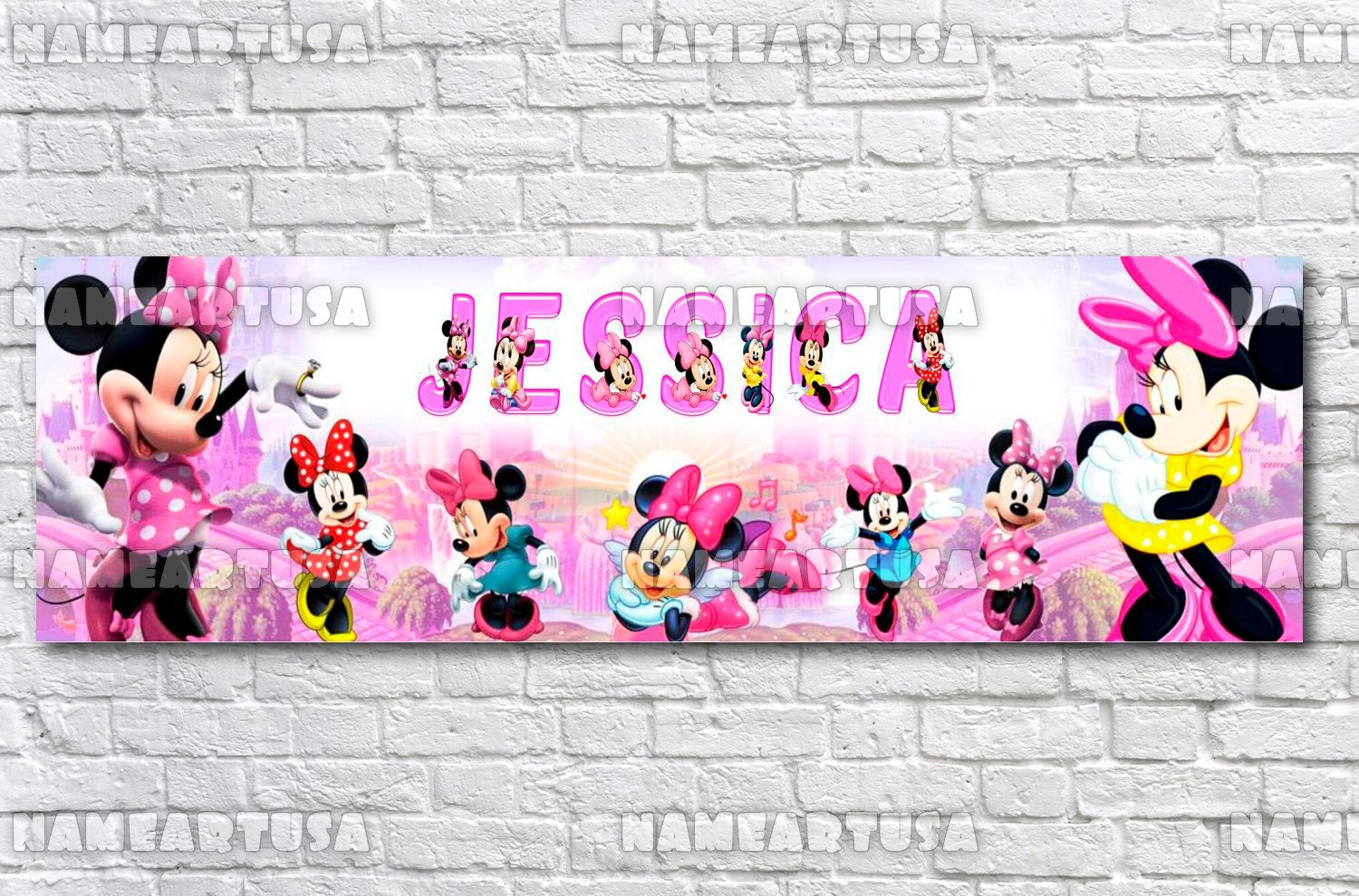 Personalized//Customized Minnie Mouse Name Poster Wall Art Decoration Banner