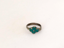 Vintage Mexican Sterling Inlay Turquoise Ring Size 4.75 - $12.99