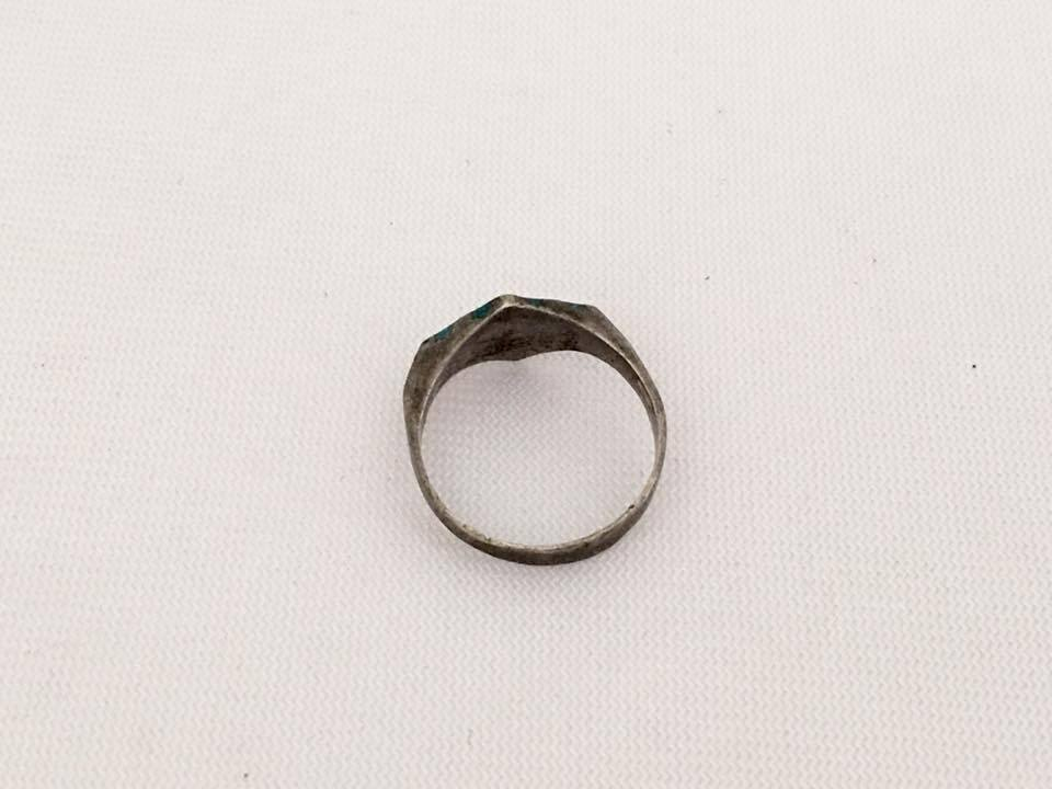 Vintage Mexican Sterling Inlay Turquoise Ring Size 4.75