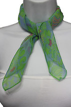Women Small Neck Scarf Fabric Square Print Pocket Green Baby Blue Pink Leaves - $9.79