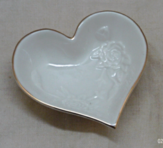 Vintage LENOX Heart Shaped Ivory & Gold Trinket... - $5.00