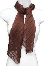 Women Fashion Long Neck Scarf Soft Fabric Tie Wrap Geometric Mosaic Plaid Brown - $10.77