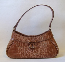 Brown Faux Snakeskin Liz Claiborne Purse Handbag Tote Lined Bow Tassel Cute - $30.00