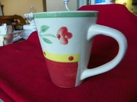 ROYAL NORFOLK Tall Coffee Mug RED FLOWERS - $6.37
