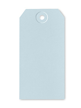 Light Blue 4.75 x 2.375 gift packaging ornament tag 10/pack cross stitch  - $3.00