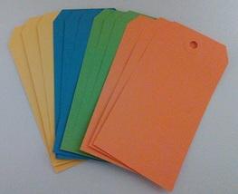 Tag Assortment #1 Yellow Blue Green Orange 4.75 x 2.375 12/pack cross stitch  - $3.50