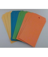 Tag Assortment #1 Yellow Blue Green Orange 4.75 x 2.375 12/pack cross st... - $3.50