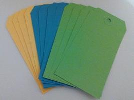 Tag Assortment #2 Yellow Blue Green 4.75 x 2.375 12/pack cross stitch  - $3.50