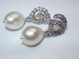 Bridal Jewelry Ivory Pearl Wedding Post Earrings Wire Wrapped Sterling S... - $39.00