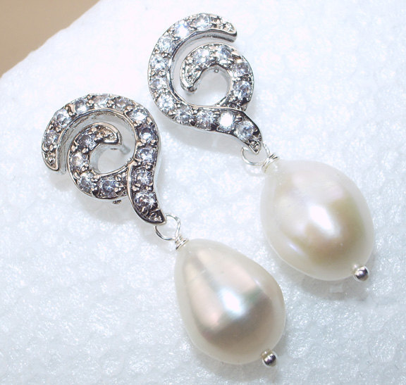 Bridal Jewelry Ivory Pearl Wedding Post Earrings Wire Wrapped Sterling Silver