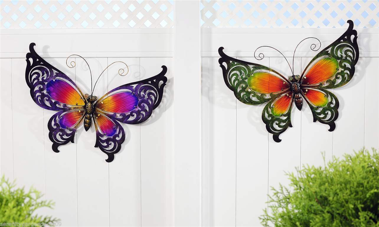 Set of 2 Cut Out Iron & Painted Glass Butterfly Design Wall Plaques Purple Green