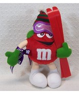 Christmas M&M's Red Character Skier w/Ski's 2002 Christmas Plush Ornament - $14.99