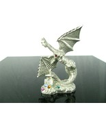 Vintage Pewter 1994 Jay Craft Winged Dragon with Crystal Jewels COOL! - $16.78