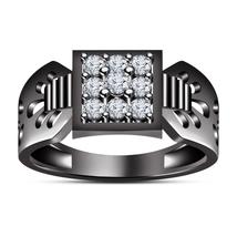 925 Silver Round Cut Diamond 925 Silver 14K Black Gold Finish Nine Stone Ring - £60.40 GBP