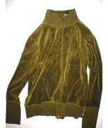 Womens New Designer Natori Velour Jacket Olive ... - $84.00