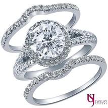 2.26 ct (1.17) Halo Set Round Diamond Engagement Ring Wedding Band Set 1... - €5.690,31 EUR
