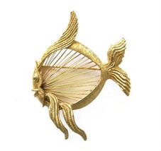 Monet Gold Tone Figural Fish Brooch / Pin - $16.00