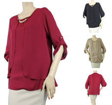 New Sexy Chiffon Double Layering Blouse w/ Necklace 3/4 Sleeve Dinner Shirt Plus - $23.99