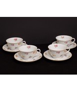 Beautiful Set of 4 Vtg NORITAKE Occupied Japan Flower / Floral Cups and ... - $48.02