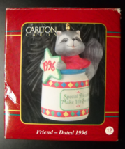 Carlton Cards Heirloom Christmas Ornament 1996 Friend Raccoon in Honey P... - $5.99