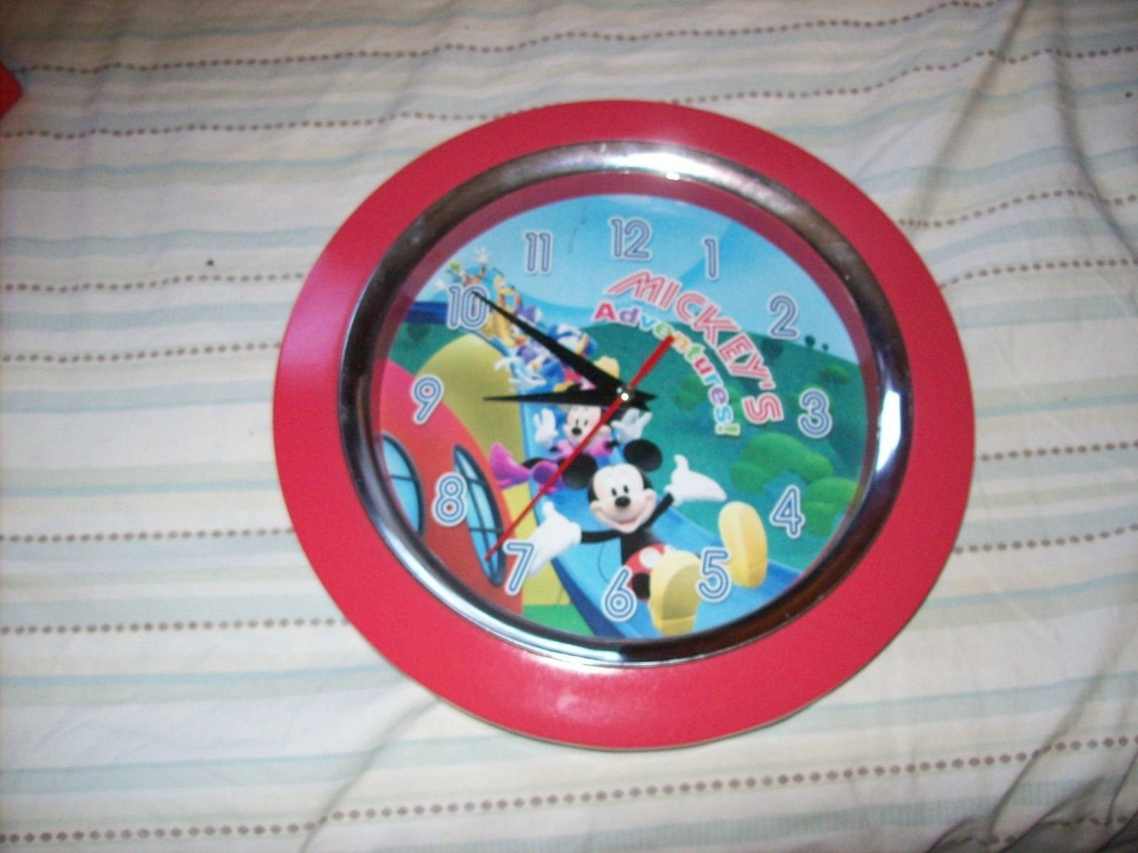 "Disney Mickey Mouse 9.5"" Round Quartz Mickey's Adventures Red Wall Clock"