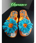 Ladies Crochet Orange & Turquoise Flip Flops - $5.00