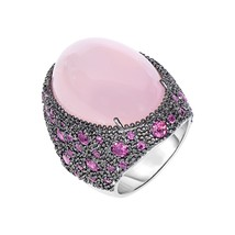 Women's Phillip Gavriel Sterling Silver Rose Quartz Ring With Black Rhodium - $593.99