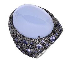Women's Phillip Gavriel Sterling Silver Blue Chalcedony Ring With Black ... - $692.99