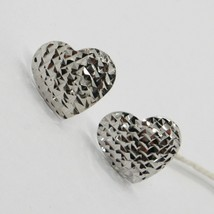 18K WHITE GOLD HEART EARRINGS FINELY WORKED, FLAT ARCHED, BRIGHT, MADE I... - $184.00