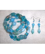 Island Breeze Blue Glass and Ceramic Bead Handmade Gypsy Bracelet and Ea... - $8.00