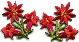 Red lilies pair flowers floral bouquet boho applique iron-on patch new S... - $3.29
