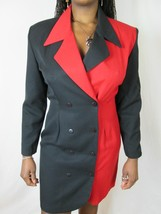 Vtg L Chateau Black and Red Shirt Dress Long Sl... - $27.80