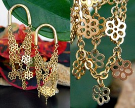 Vintage Tier Chain Earrings Dangle Drop Flowers Horseshoe Gold Pierced - $17.95