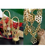 Vintage tier chain earrings dangle drop flowers horseshoe gold pierced thumbtall