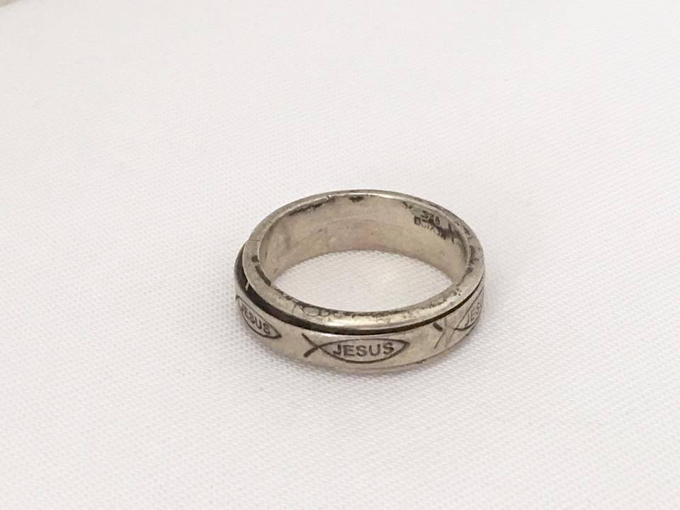 vintage mexican sterling silver jesus fish band ring size