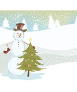 4 Vector Snowman with Background B-Digital Clip... - $3.85