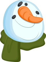 Snowman Head-Digital Clipart-Christmas-Card - $4.00