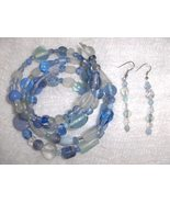 Blizzard Blue Glass and Ceramic Bead Gypsy Bracelet and Earring Set - $8.00