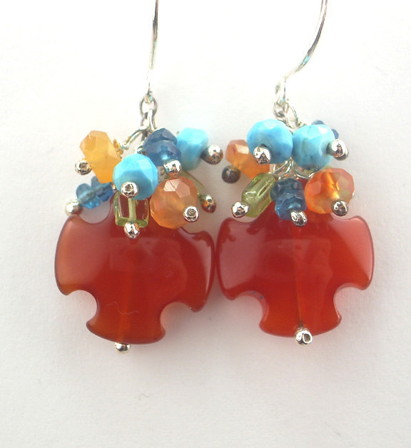 Carnelian Earrings Wire Wrapped Sterling Silver Multi Gemstone Cluster Spring Fa