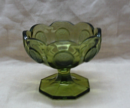 Vintage FOSTORIA Green Coin Footed Dish // Cand... - $10.00