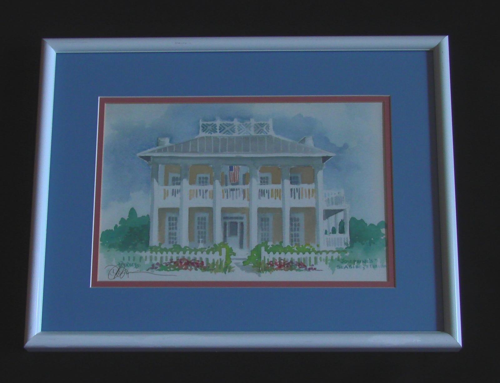 "Signed, Framed, E. Donna Burgess  Print, ""Josephine's""  Seaside, Florida"