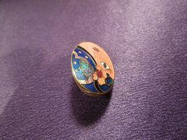 Vintage Enamel Gypsy Fortune Teller Face W/ Scarf Over Eye Oval Stud Earrings image 4