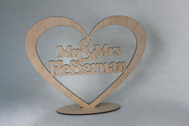 Custom  Mr & Mrs Wedding   TableTopper Wood Heart With Names and Stand - $16.17