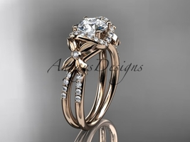 14kt rose gold diamond wedding ring with a  Moissanite center stone ADLR140 - $1,690.00